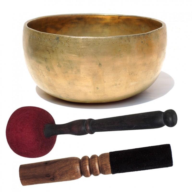 Cuenco Tibetano Antiguo Thado M con 2 baquetas