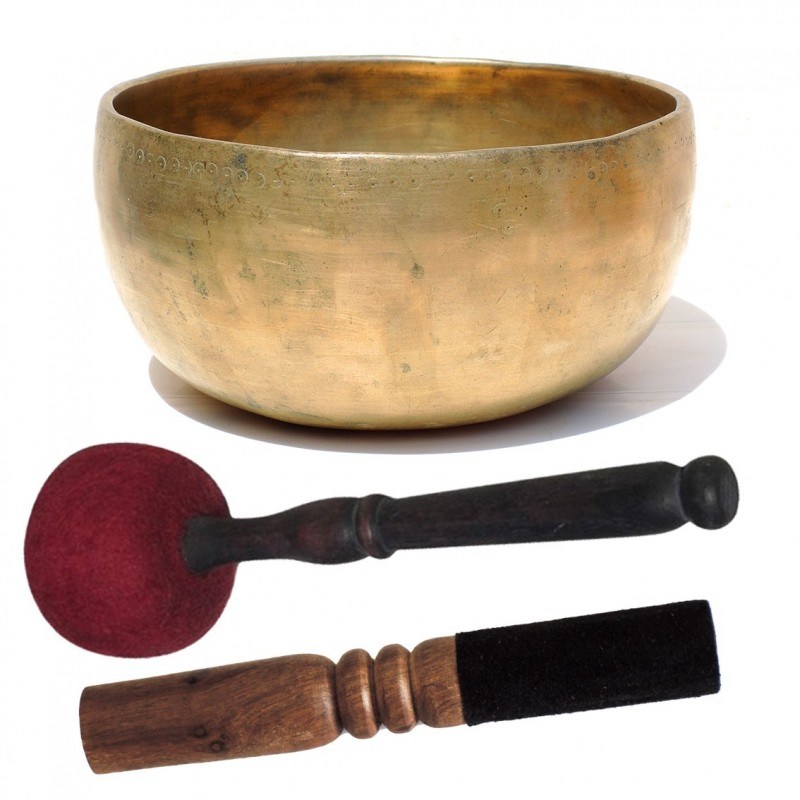 Cuenco Tibetano Antiguo Thado L con 2 baquetas