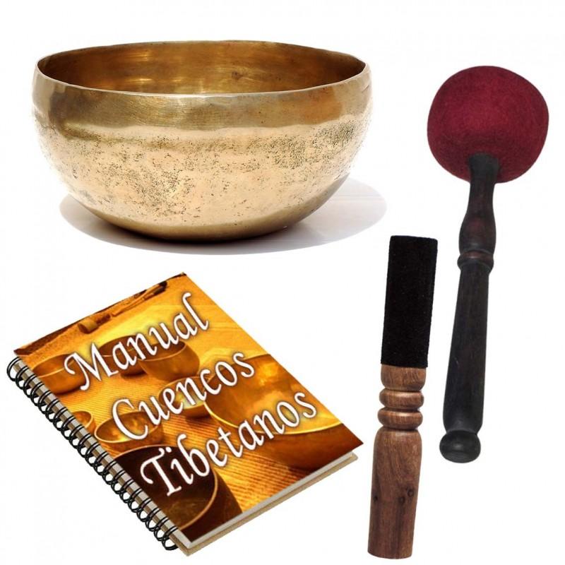 Pack cuenco tibetano M manual y 2 baquetas
